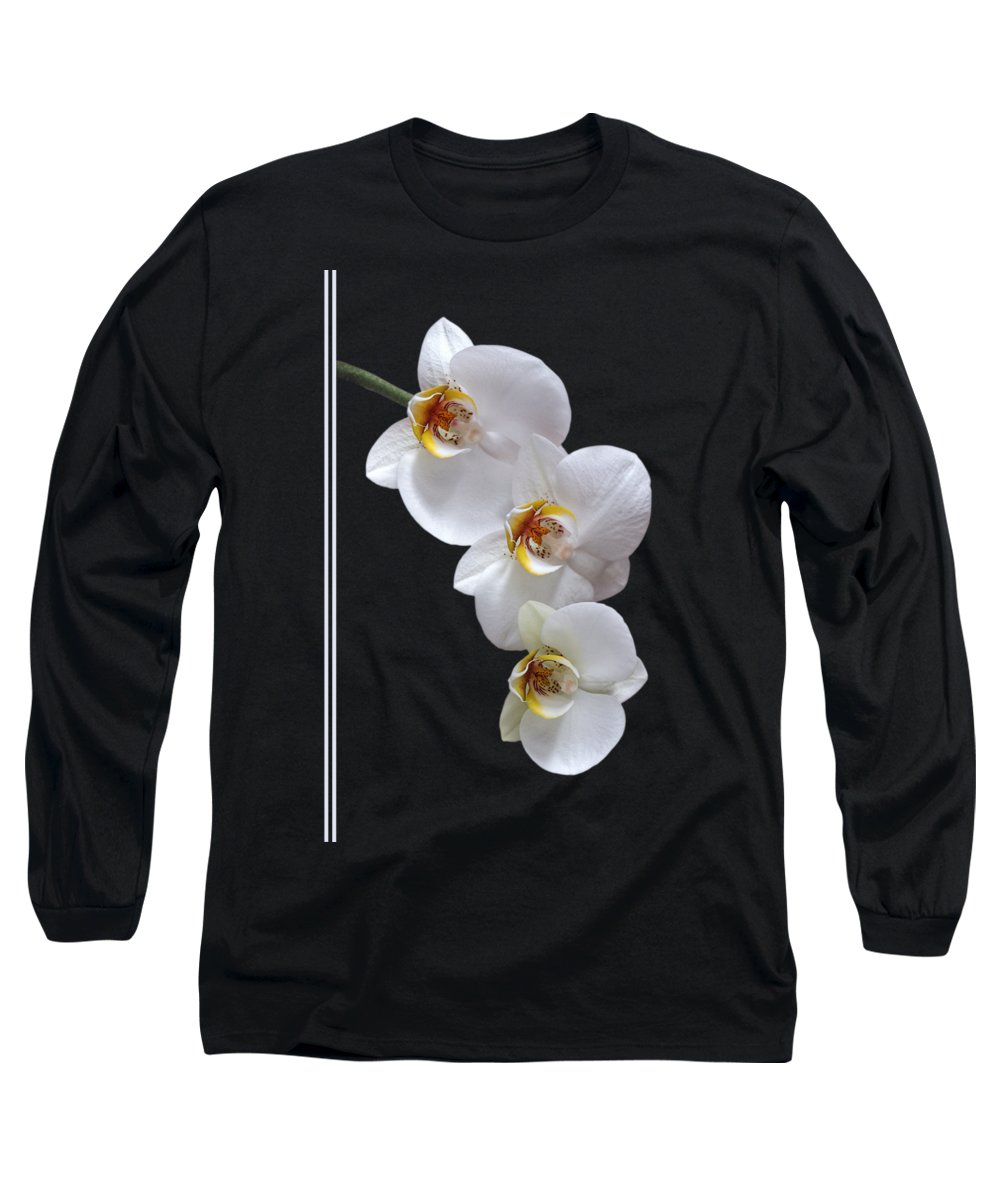Soft White Orchid Long Sleeve T-Shirt featuring the photograph White Orchids On Black Vertical by Gill Billington