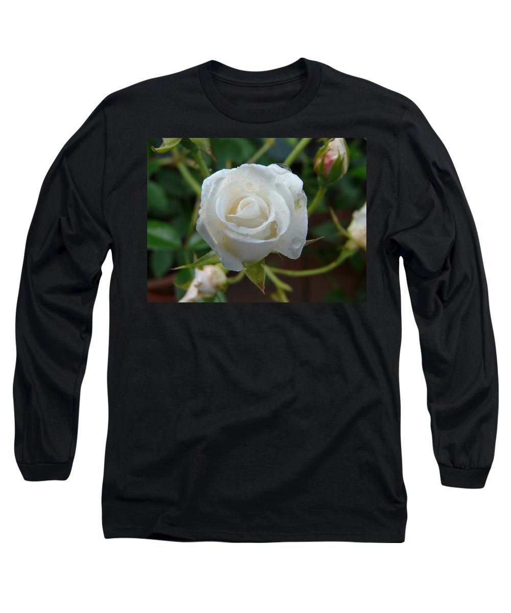 Rose Long Sleeve T-Shirt featuring the photograph White Rose After Rain 2 by Valerie Ornstein