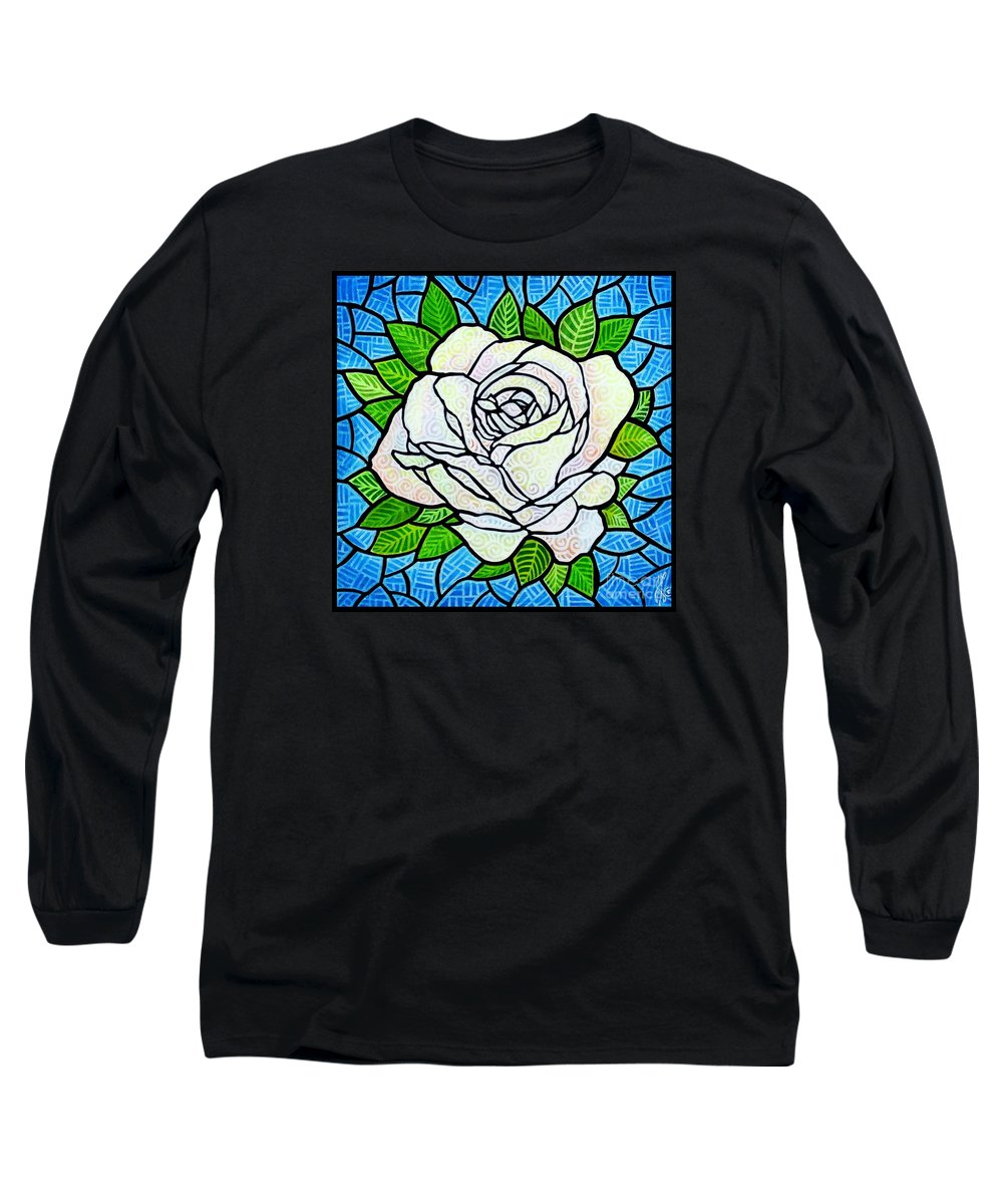 White Long Sleeve T-Shirt featuring the painting White Rose by Jim Harris