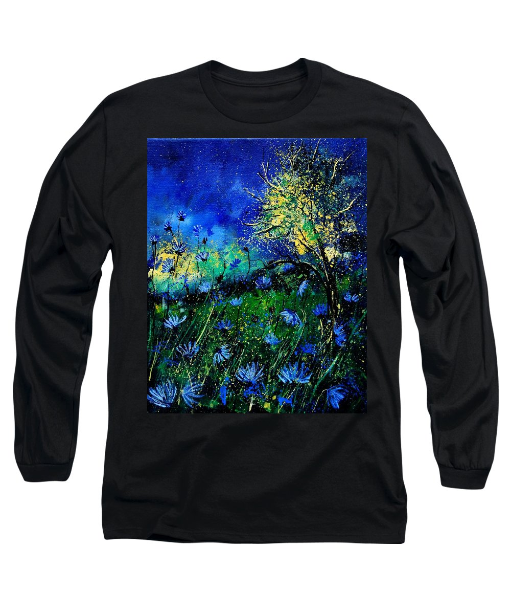 Poppies Long Sleeve T-Shirt featuring the painting Wild Chocoree by Pol Ledent