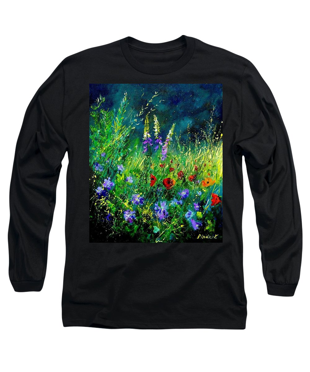 Poppies Long Sleeve T-Shirt featuring the painting Wild Flowers by Pol Ledent