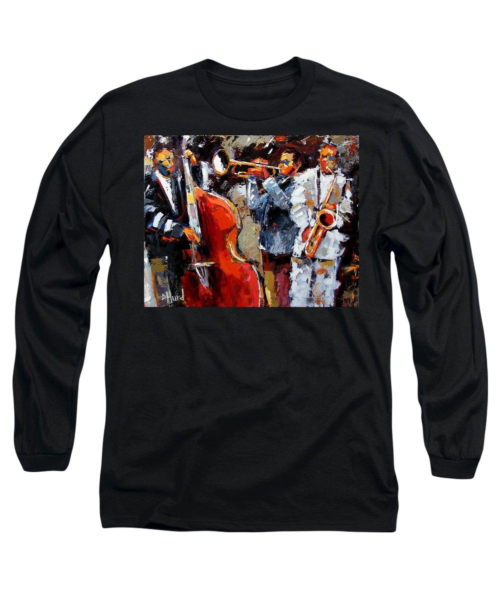 Jazz Long Sleeve T-Shirt featuring the painting Wild Jazz by Debra Hurd