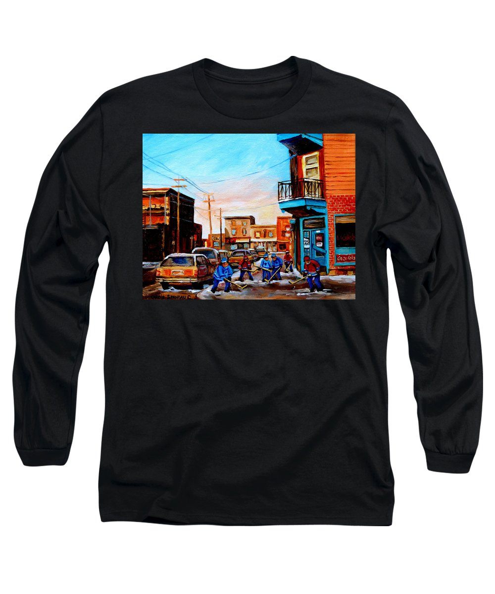 Hockey Long Sleeve T-Shirt featuring the painting Wilensky's A Friendly Game Of Hockey by Carole Spandau