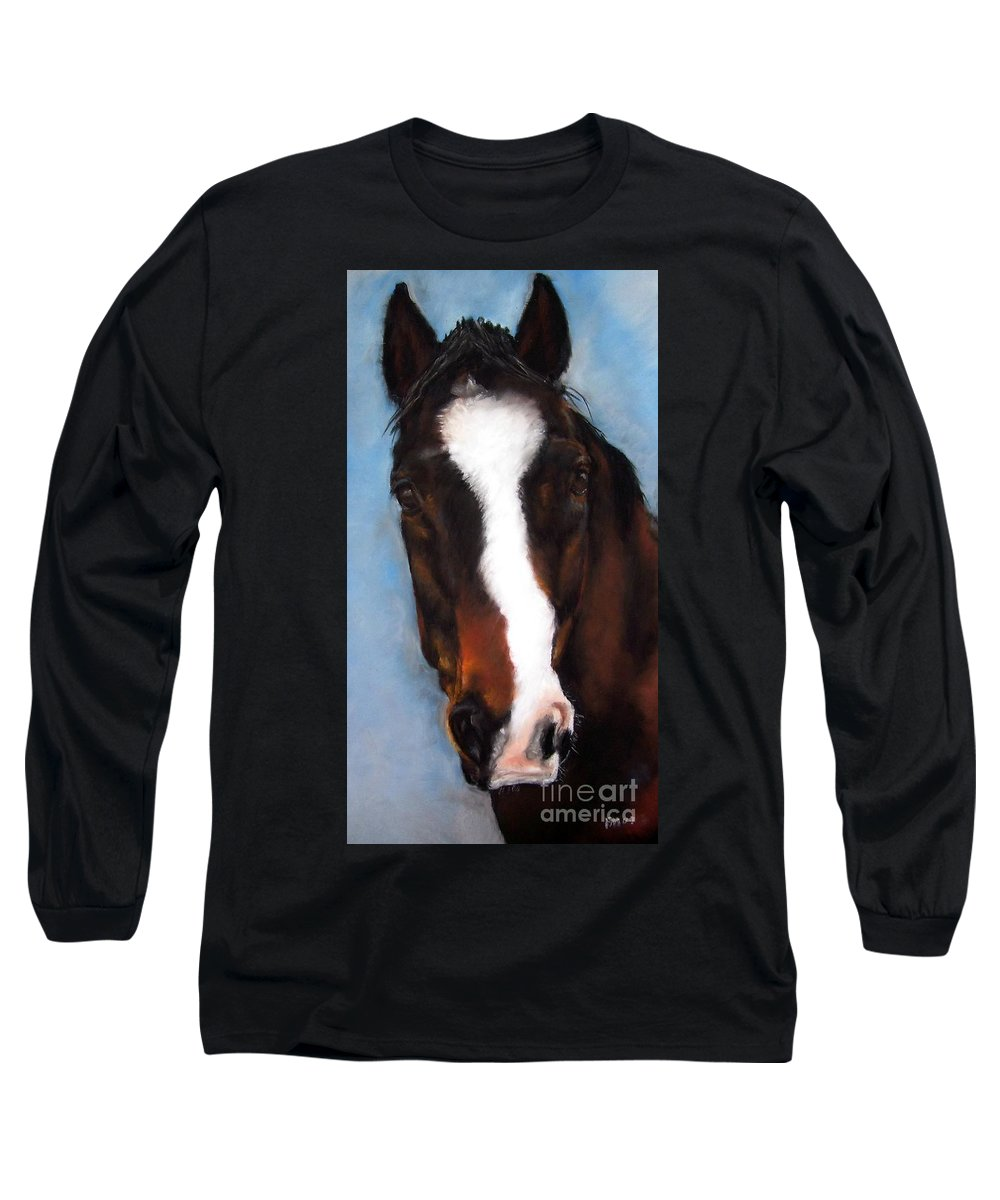 Horse Painting Long Sleeve T-Shirt featuring the painting Willie Duke by Frances Marino