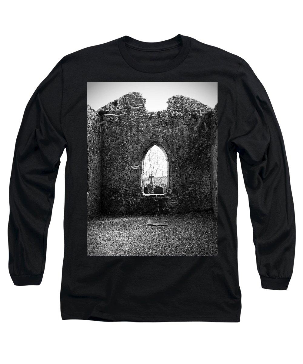 Ireland Long Sleeve T-Shirt featuring the photograph Window At Fuerty Church Roscommon Ireland by Teresa Mucha