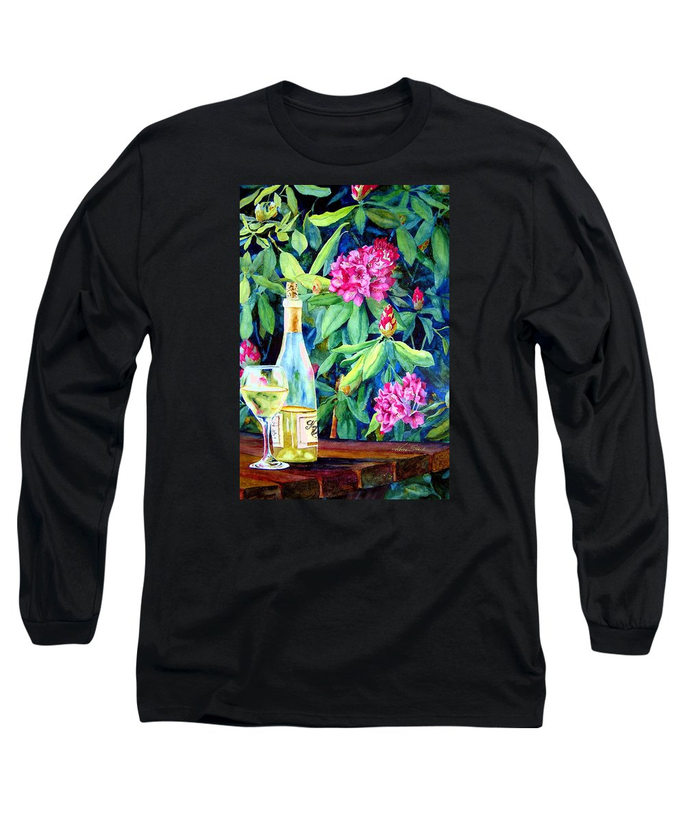 Rhododendron Long Sleeve T-Shirt featuring the painting Wine And Rhodies by Karen Stark
