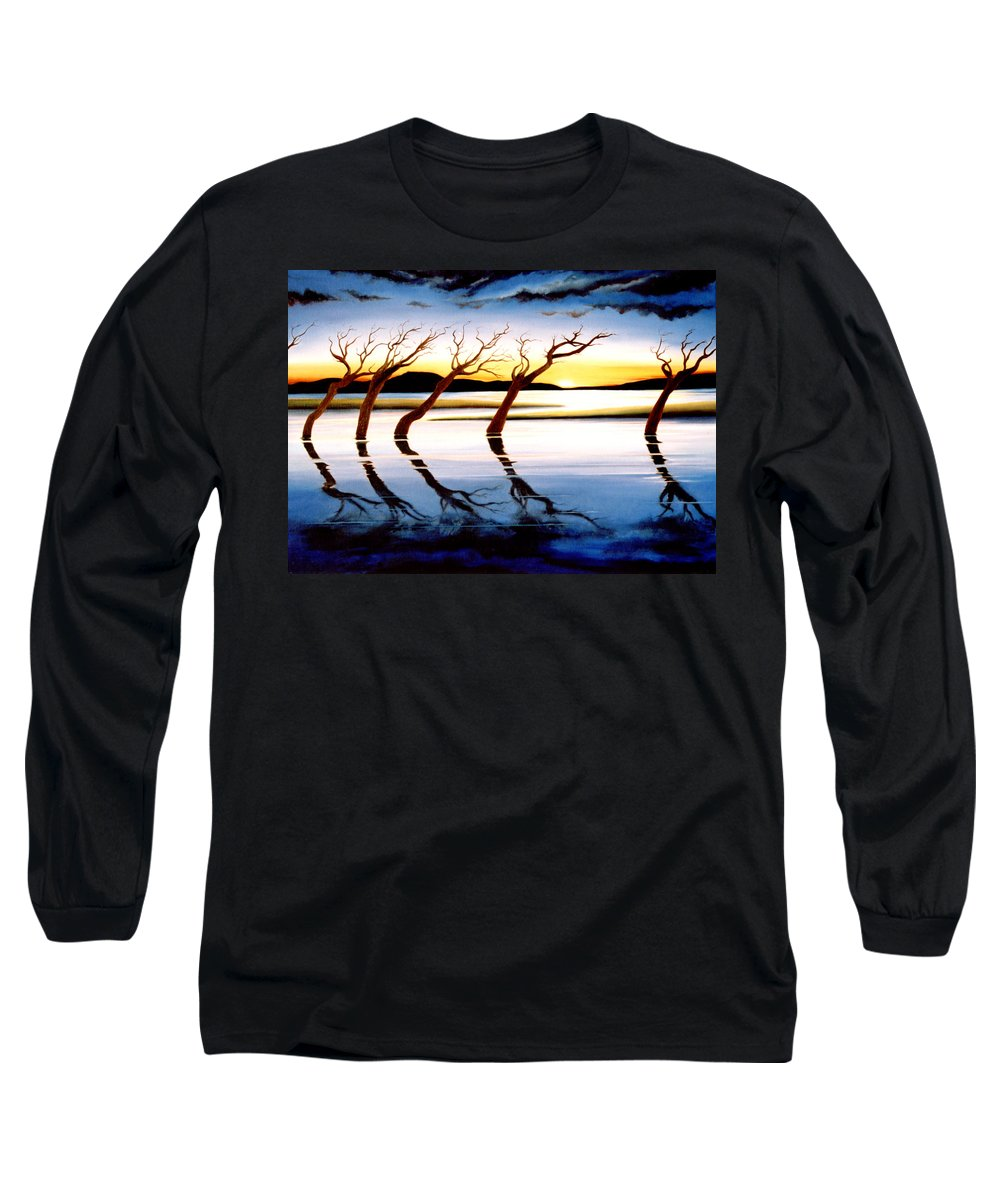 Seascape Long Sleeve T-Shirt featuring the painting Winter Heatwave by Mark Cawood