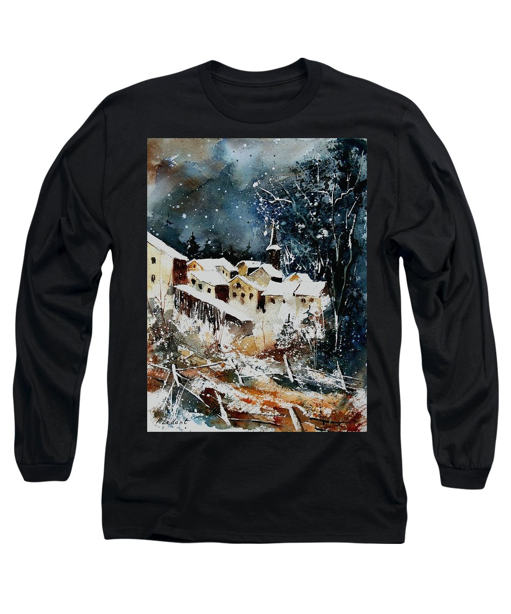 Winter Long Sleeve T-Shirt featuring the painting Winter In Vivy by Pol Ledent
