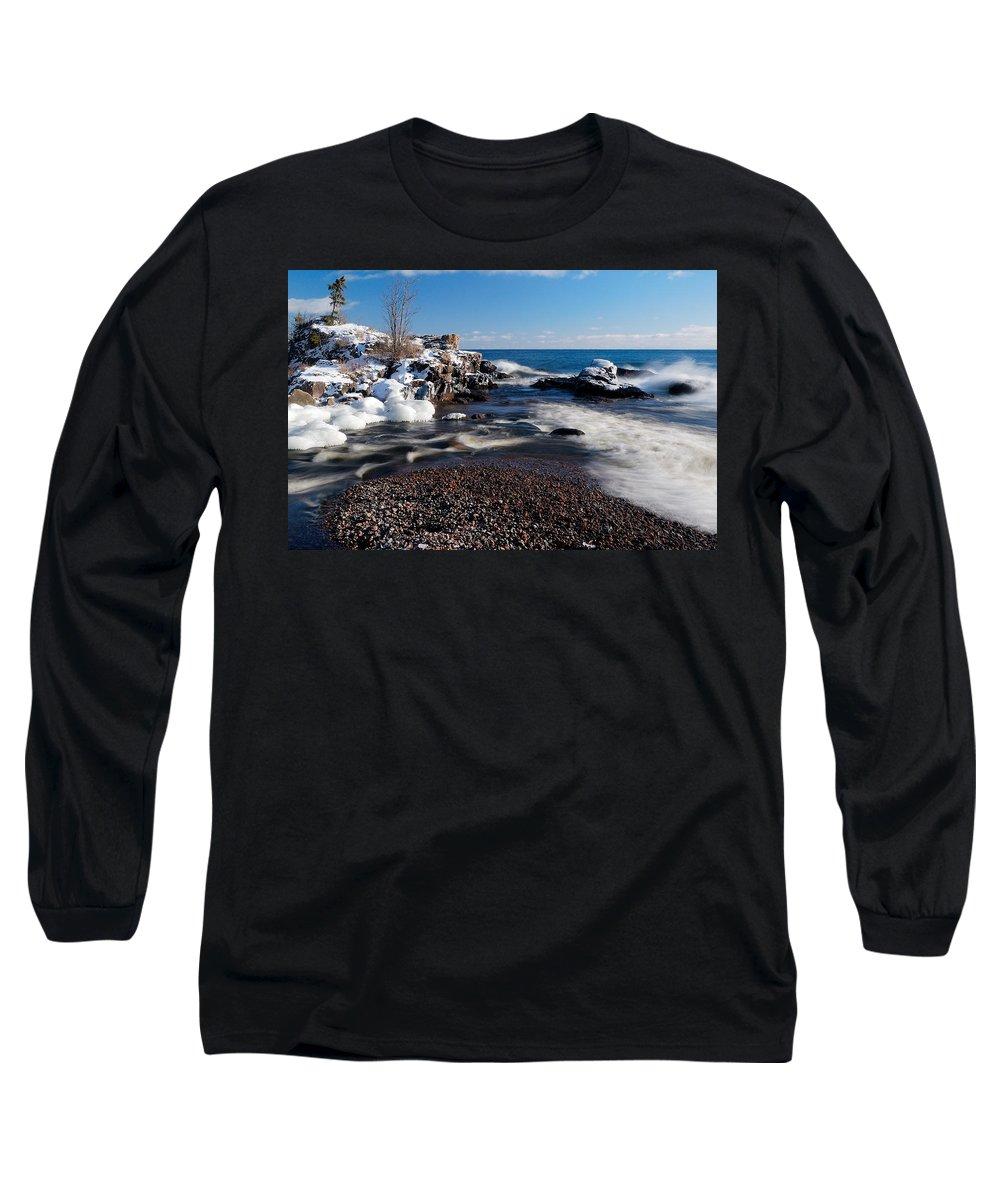 Michigan Long Sleeve T-Shirt featuring the photograph Winter Splash by Sebastian Musial