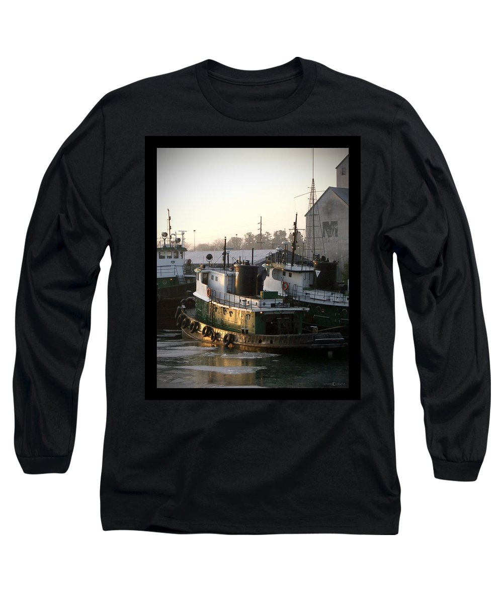 Tugs Long Sleeve T-Shirt featuring the photograph Winter Tugs by Tim Nyberg