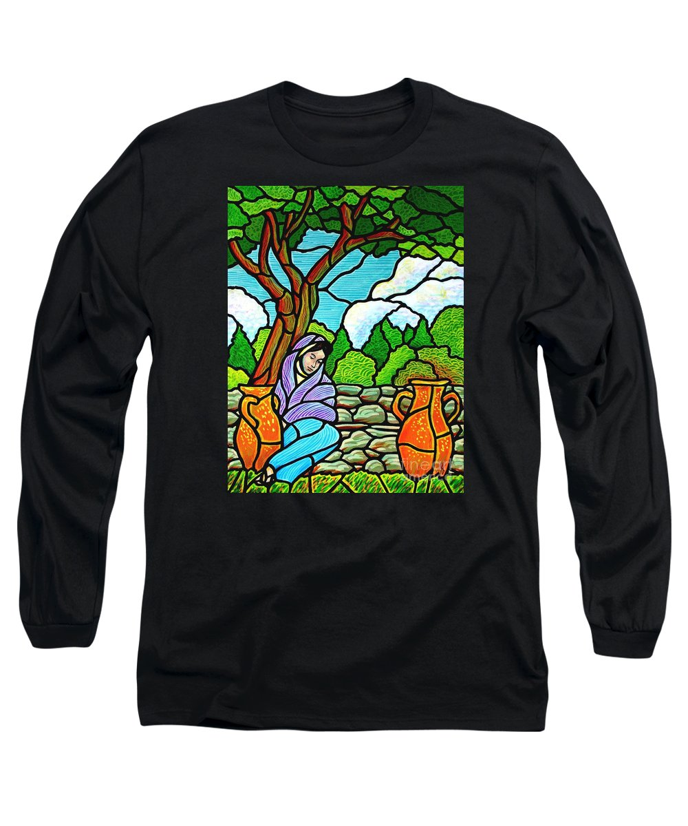 Women Long Sleeve T-Shirt featuring the painting Woman At The Well by Jim Harris