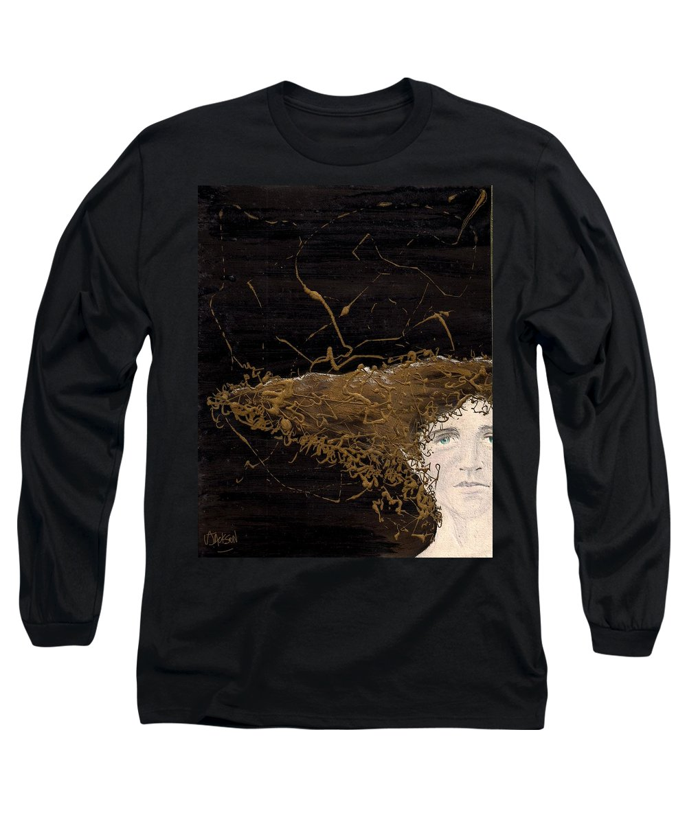Hair Gold Woman Face Eyes Softness Long Sleeve T-Shirt featuring the mixed media Woman With Beautiful Hair by Veronica Jackson