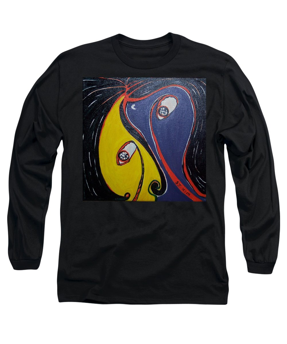 Yellow Paintings Long Sleeve T-Shirt featuring the painting Woman21 by Seon-Jeong Kim