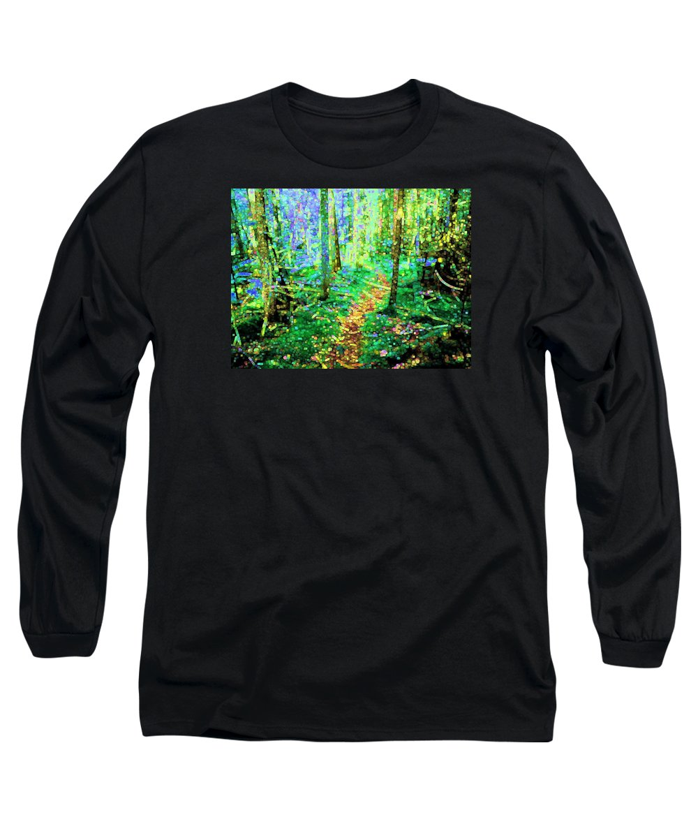 Nature Long Sleeve T-Shirt featuring the digital art Wooded Trail by Dave Martsolf