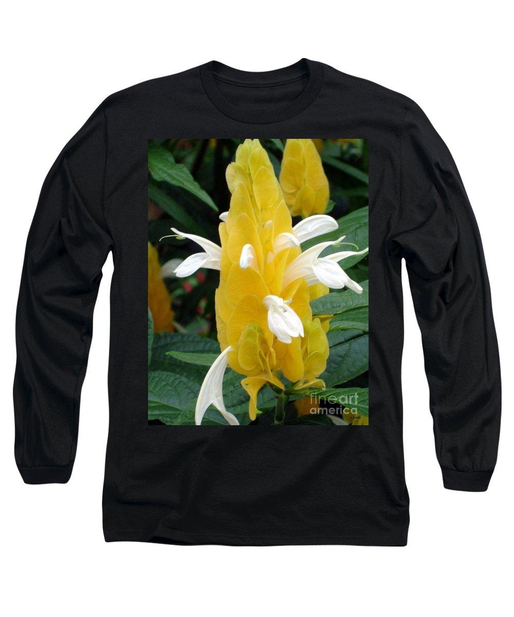 Flower Long Sleeve T-Shirt featuring the photograph Yellow Eruption by Shelley Jones