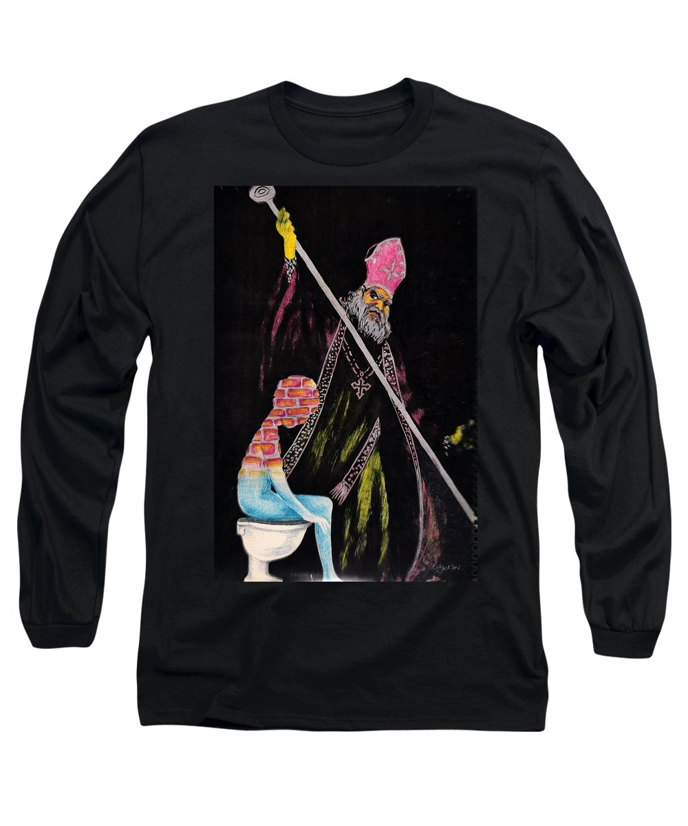Religion God Salvation Darkness Control Lies Long Sleeve T-Shirt featuring the mixed media You Will Be Saved by Veronica Jackson