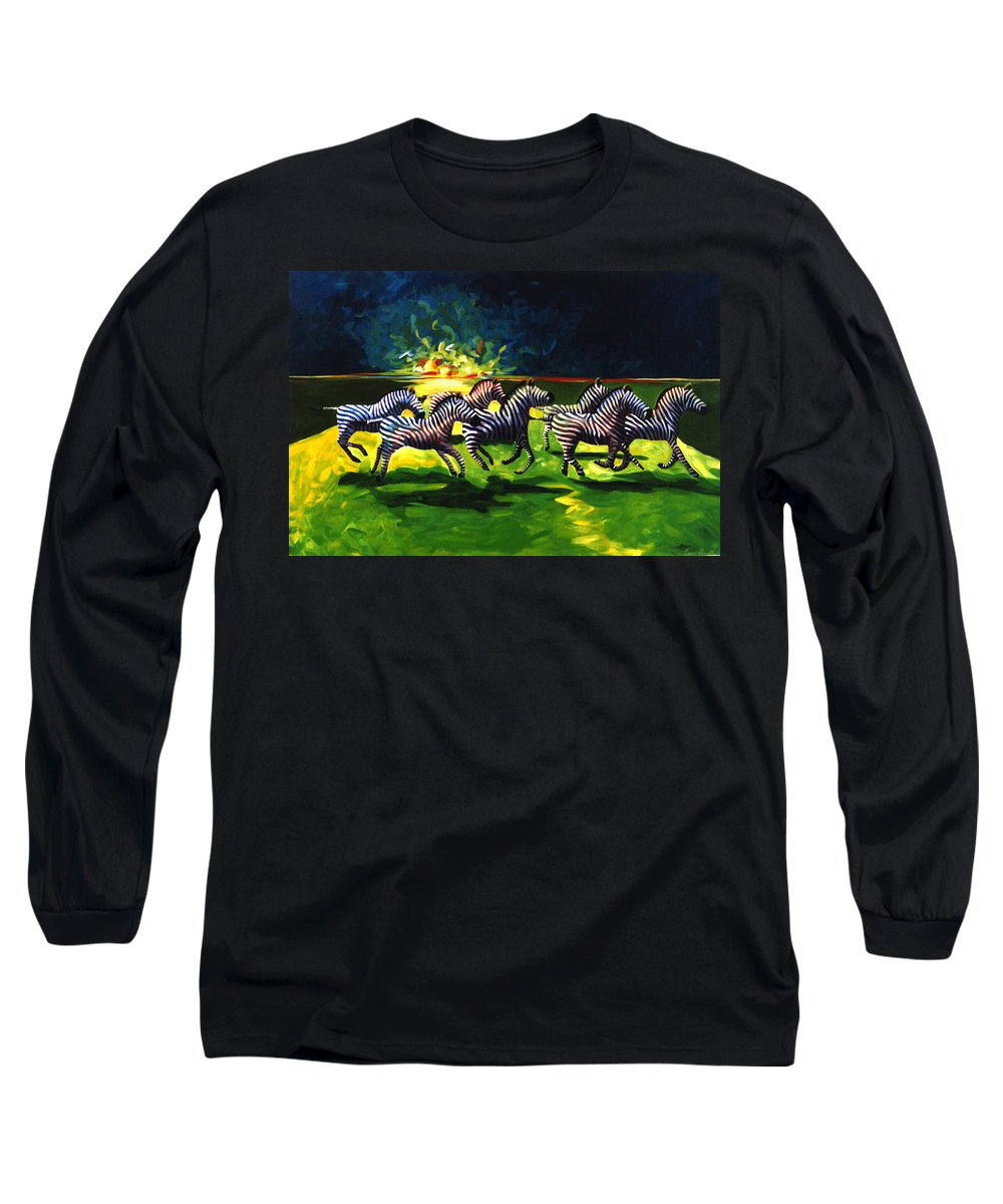 Modern Long Sleeve T-Shirt featuring the painting Zebz by Lance Headlee