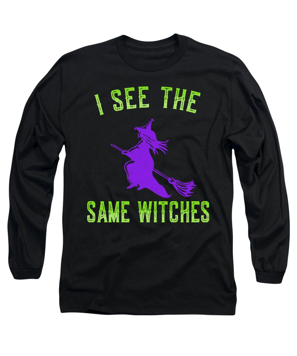 Cool Long Sleeve T-Shirt featuring the digital art I See The Same Witches by Flippin Sweet Gear