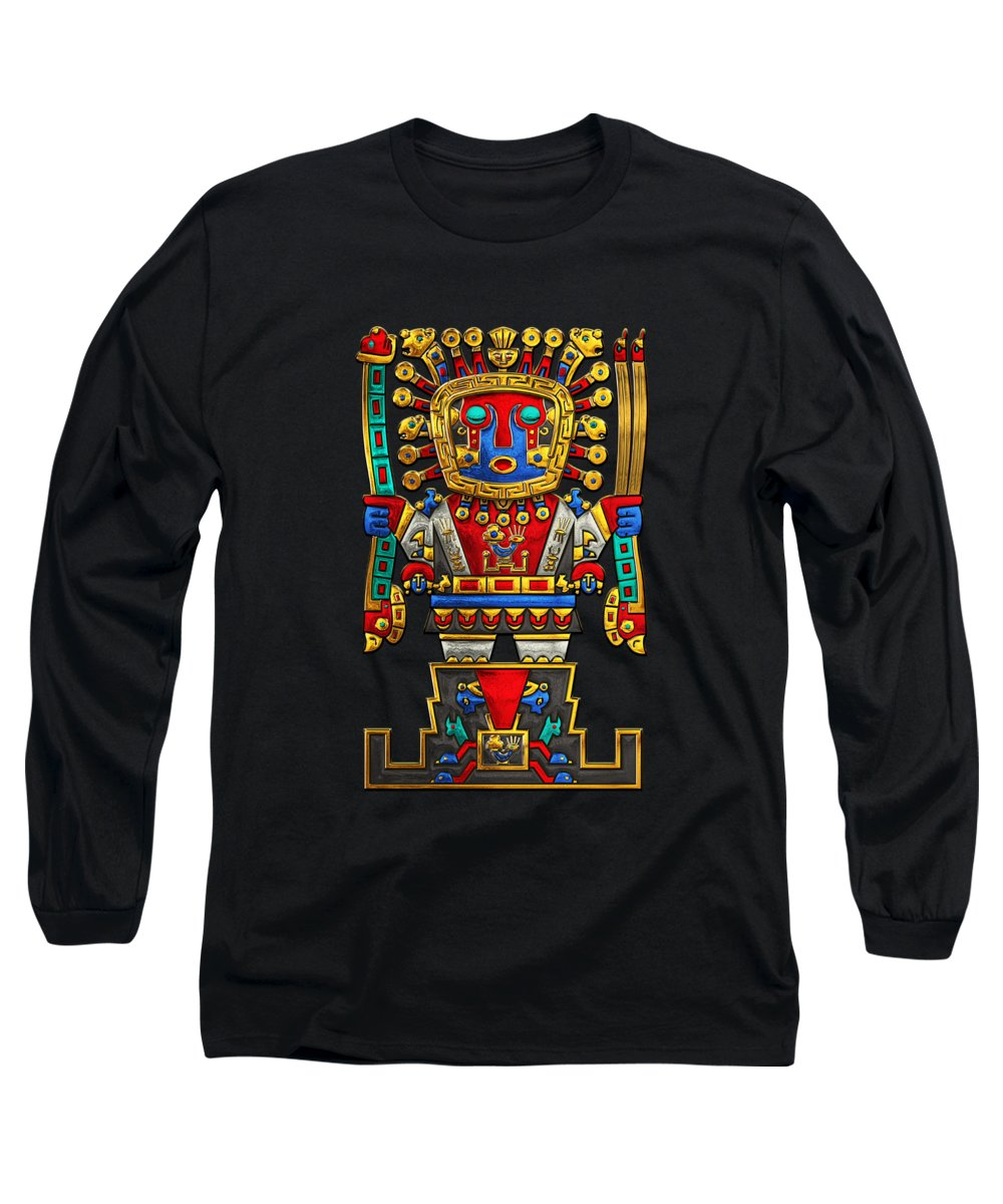 'treasures Of Pre-columbian America' Collection By Serge Averbukh Long Sleeve T-Shirt featuring the photograph Incan Gods - The Great Creator Viracocha On Black Canvas by Serge Averbukh