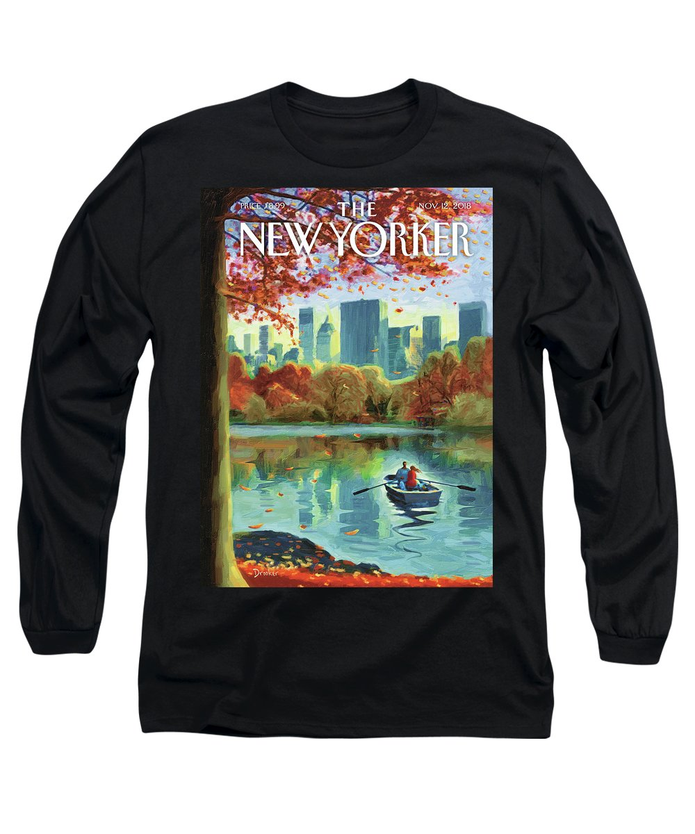 Autumn Central Park Long Sleeve T-Shirt featuring the drawing Autumn Central Park by Eric Drooker