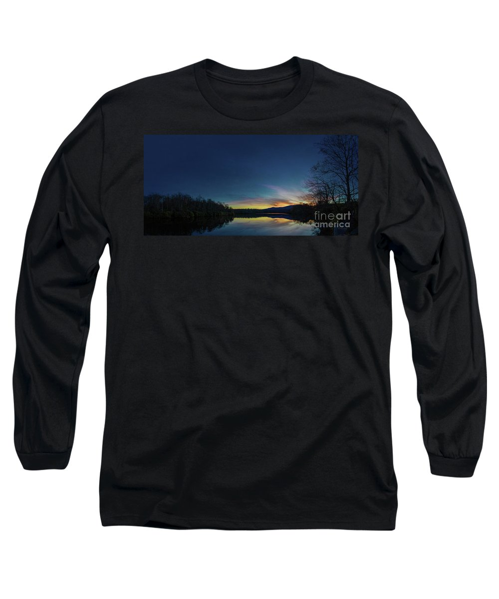 Blue Ridge Parkway Long Sleeve T-Shirt featuring the photograph Blue Ridge Parkway Mountain Lake Sunset 789g by Ricardos Creations