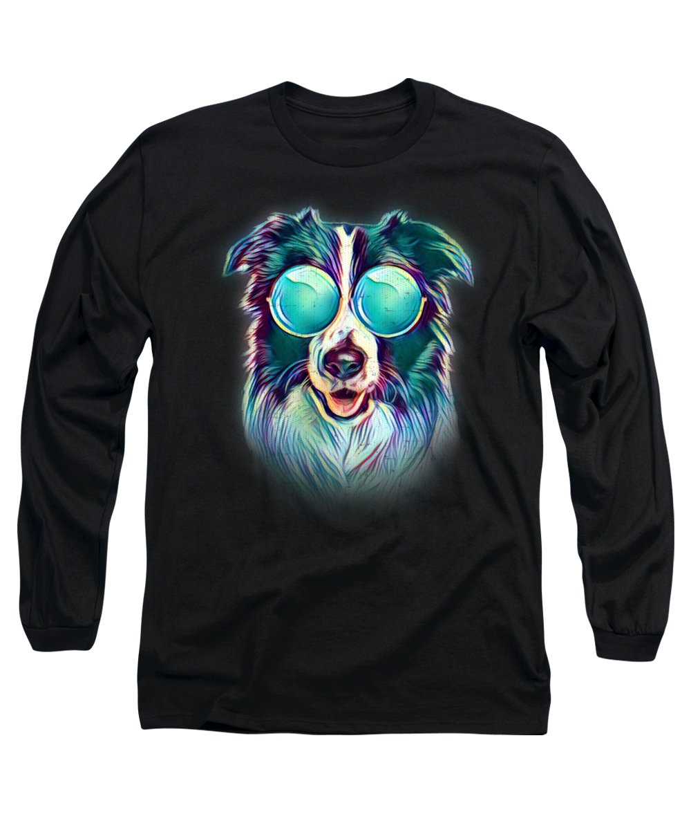 Border-collie-gifts Long Sleeve T-Shirt featuring the digital art Border Collie Neon Dog Sunglasses by Passion Loft