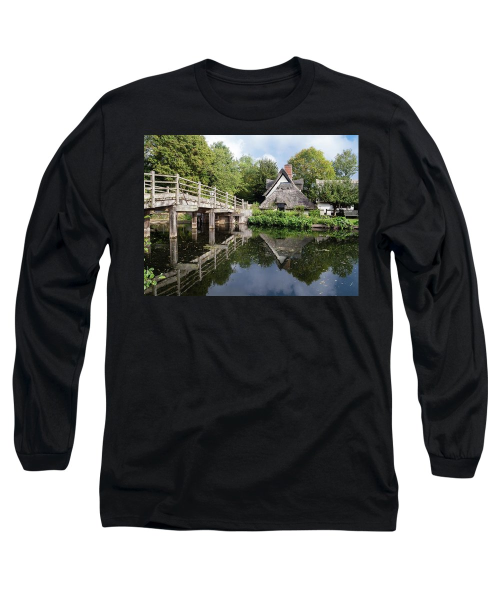 Area Of Outstanding Natural Beauty Long Sleeve T-Shirt featuring the photograph Bridge Cottage, Flatford by James Lamb