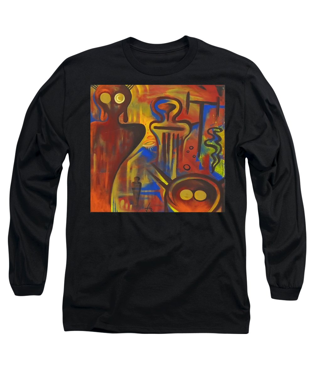 Ancient Aliens Long Sleeve T-Shirt featuring the painting Cave Dwellers by Victor Rosario