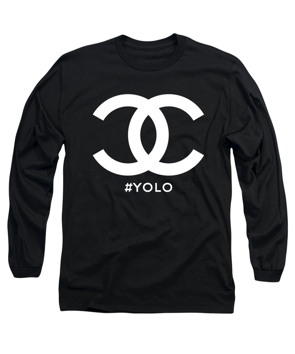 Chanel Long Sleeve T-Shirt featuring the painting Chanel You Only Live Once by Nikita