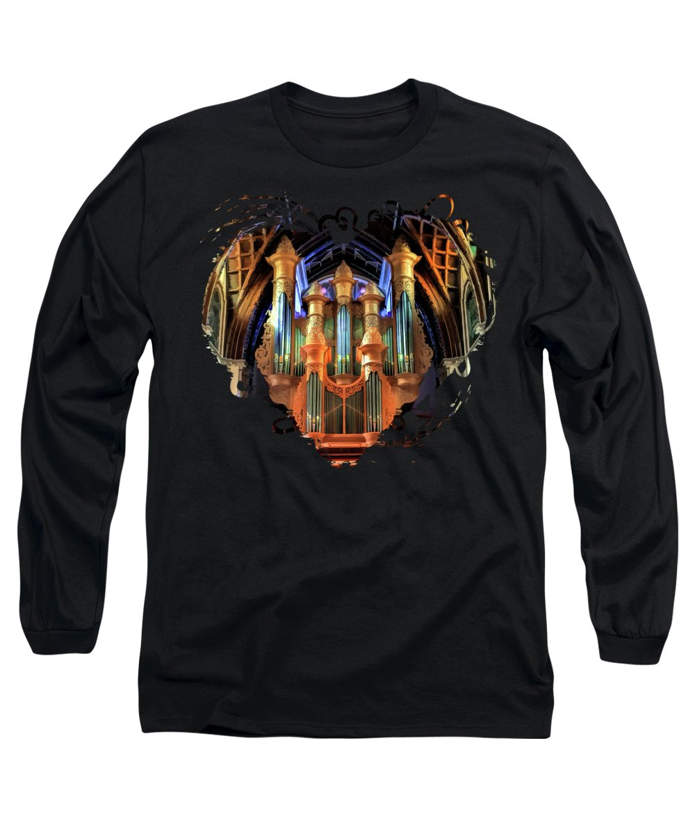 Chicago Long Sleeve T-Shirt featuring the painting Chicago Holy Name Cathedral Organ by Christopher Arndt