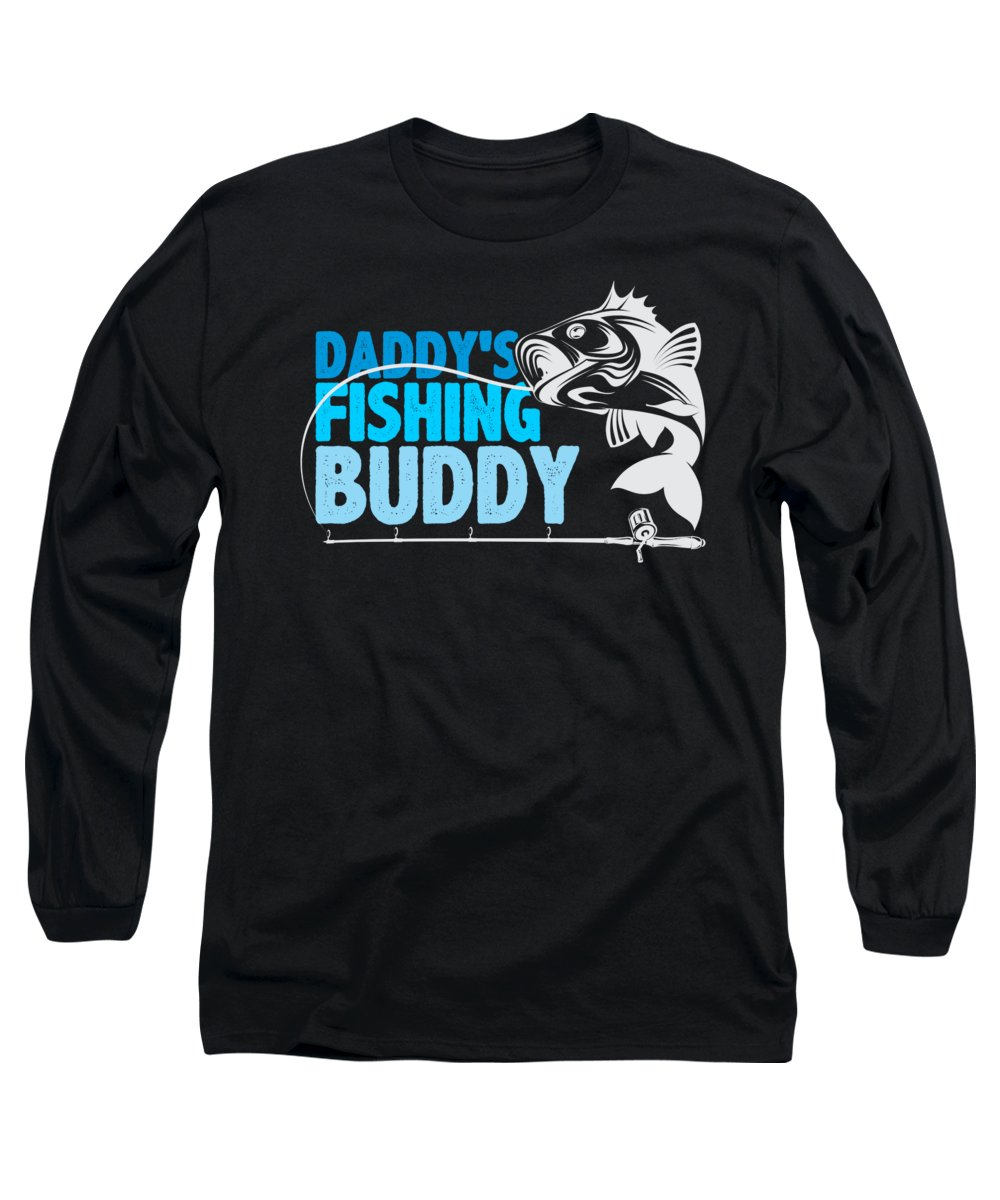 Father-and-son-gifts Long Sleeve T-Shirt featuring the digital art Daddys Fishing Buddy Father Son Hobby by Passion Loft