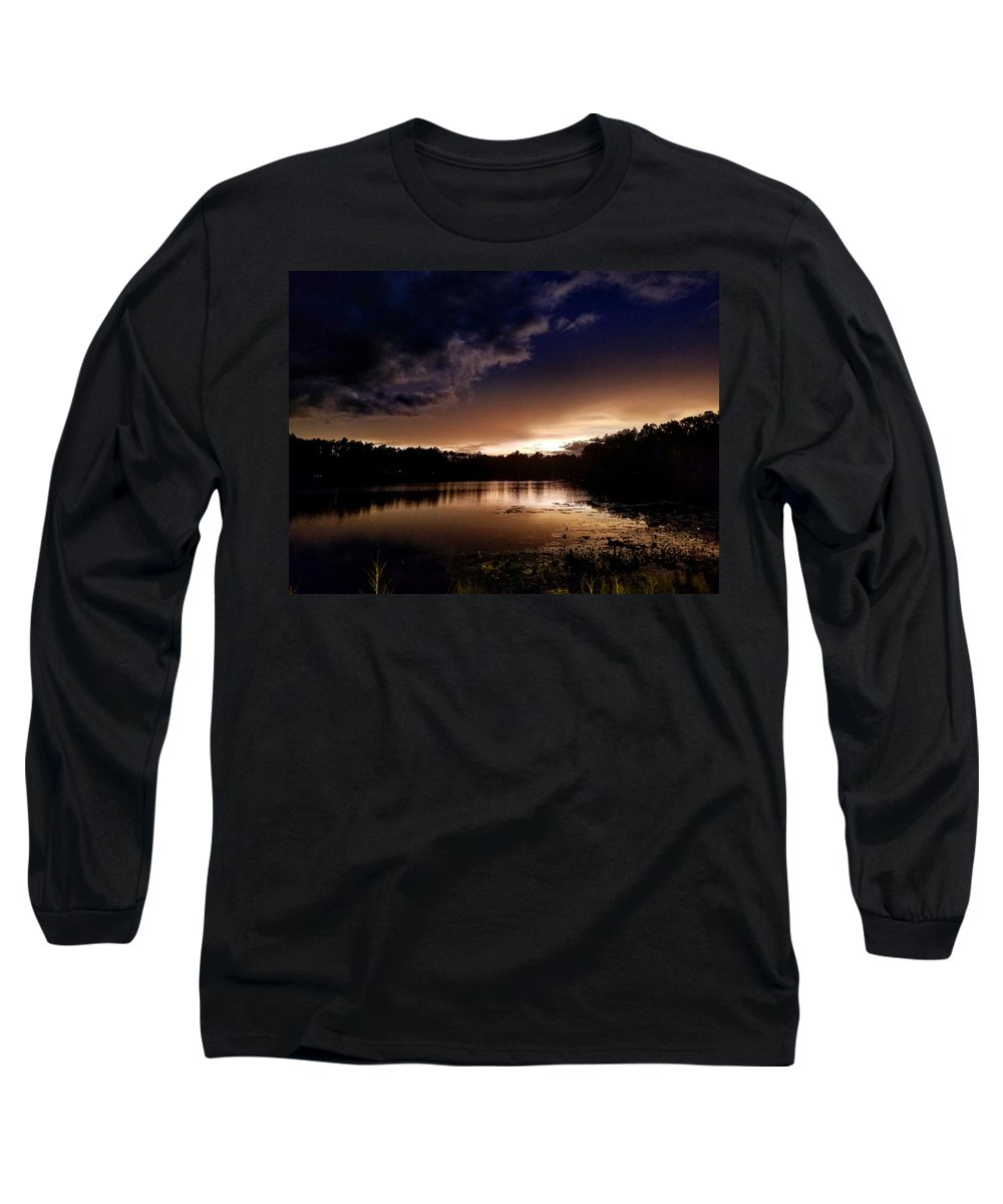 Sunset Long Sleeve T-Shirt featuring the photograph Dark Reflections by Shena Sanders