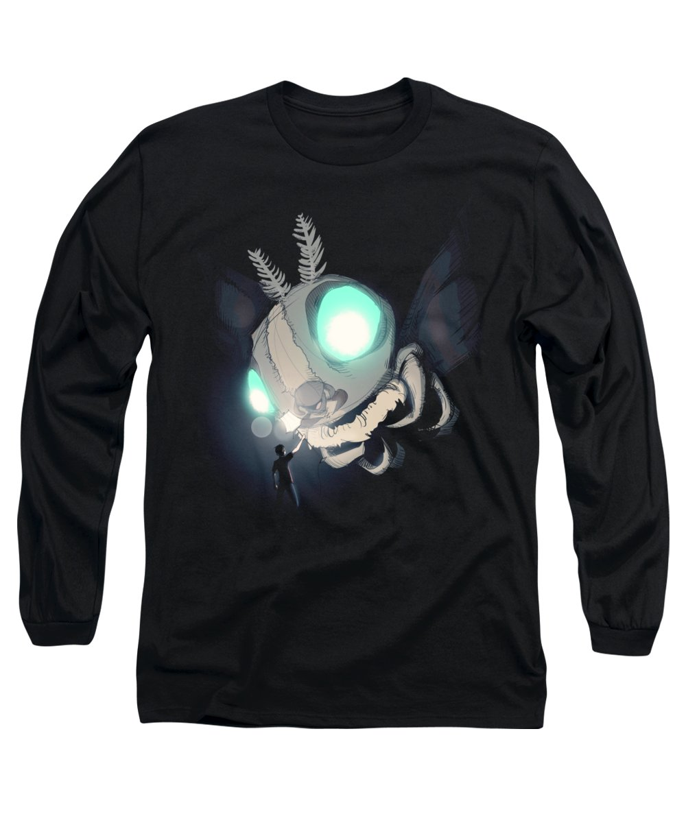 Monster Long Sleeve T-Shirt featuring the drawing Giant Moth Vs Lamp by Ludwig Van Bacon