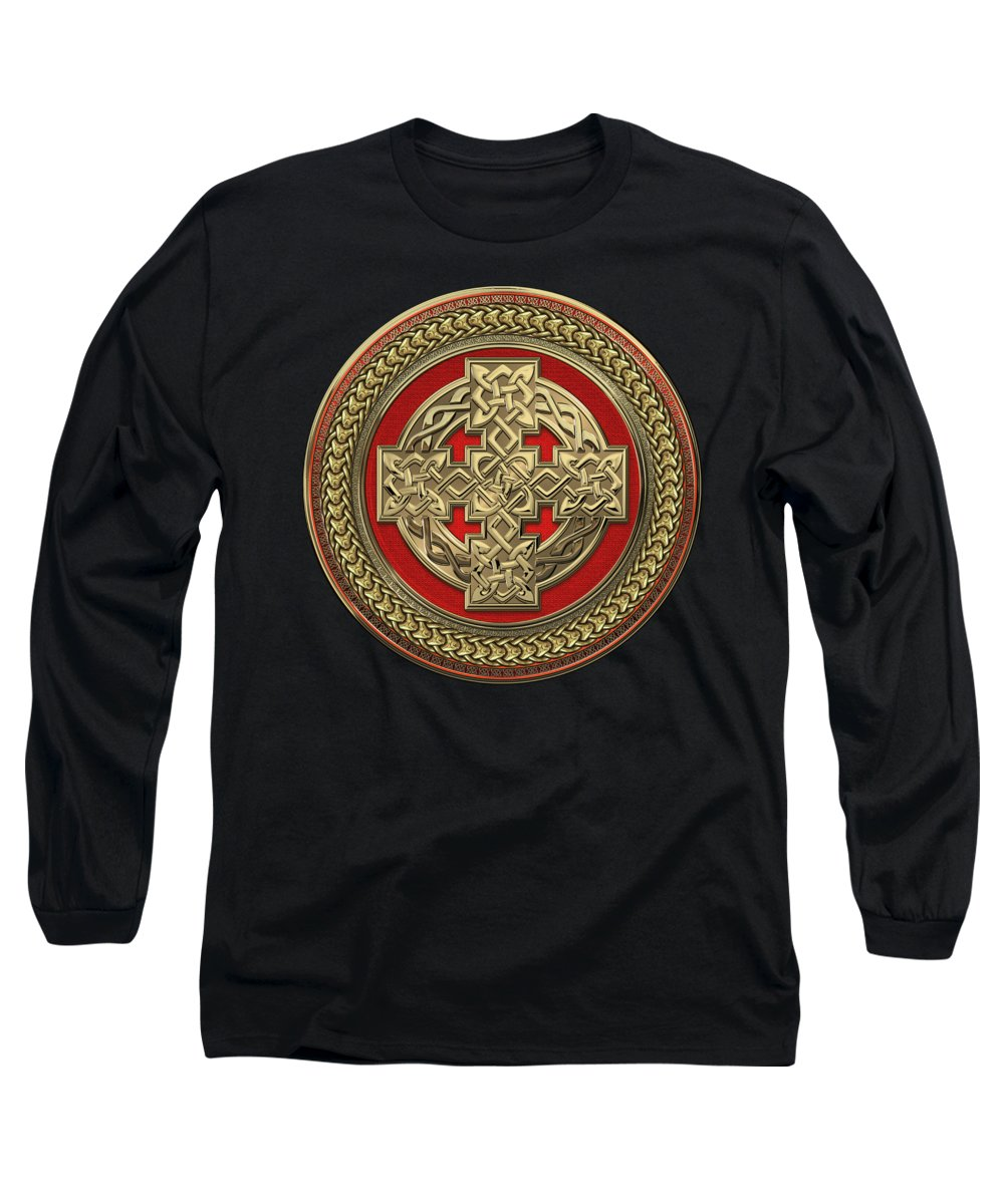 'celtic Treasures' Collection By Serge Averbukh Long Sleeve T-Shirt featuring the digital art Gold Celtic Knot Cross Over Red With Gold Medallion Over Black Velvet by Serge Averbukh