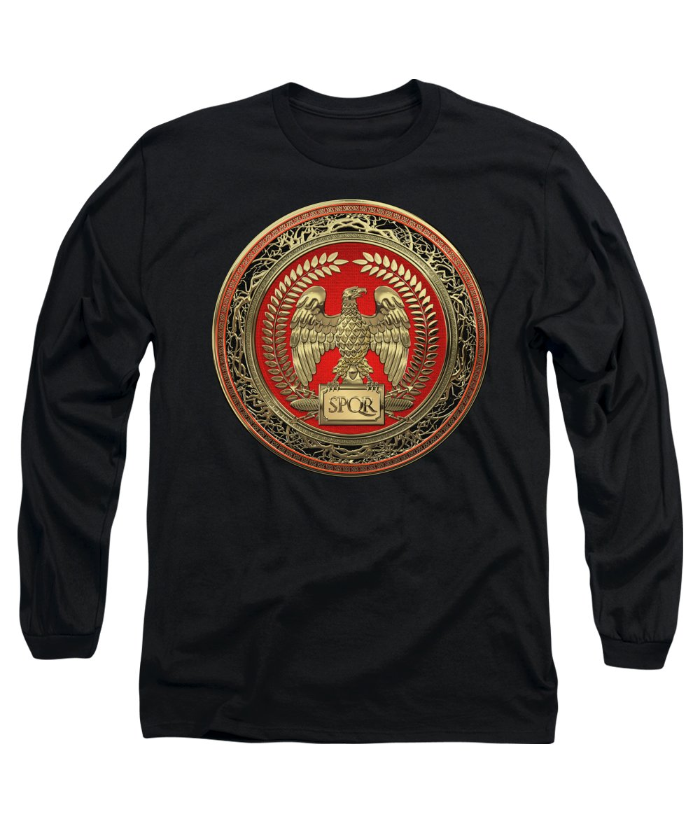 'treasures Of Rome' Collection By Serge Averbukh Long Sleeve T-Shirt featuring the digital art Gold Roman Imperial Eagle Over Black Leather by Serge Averbukh