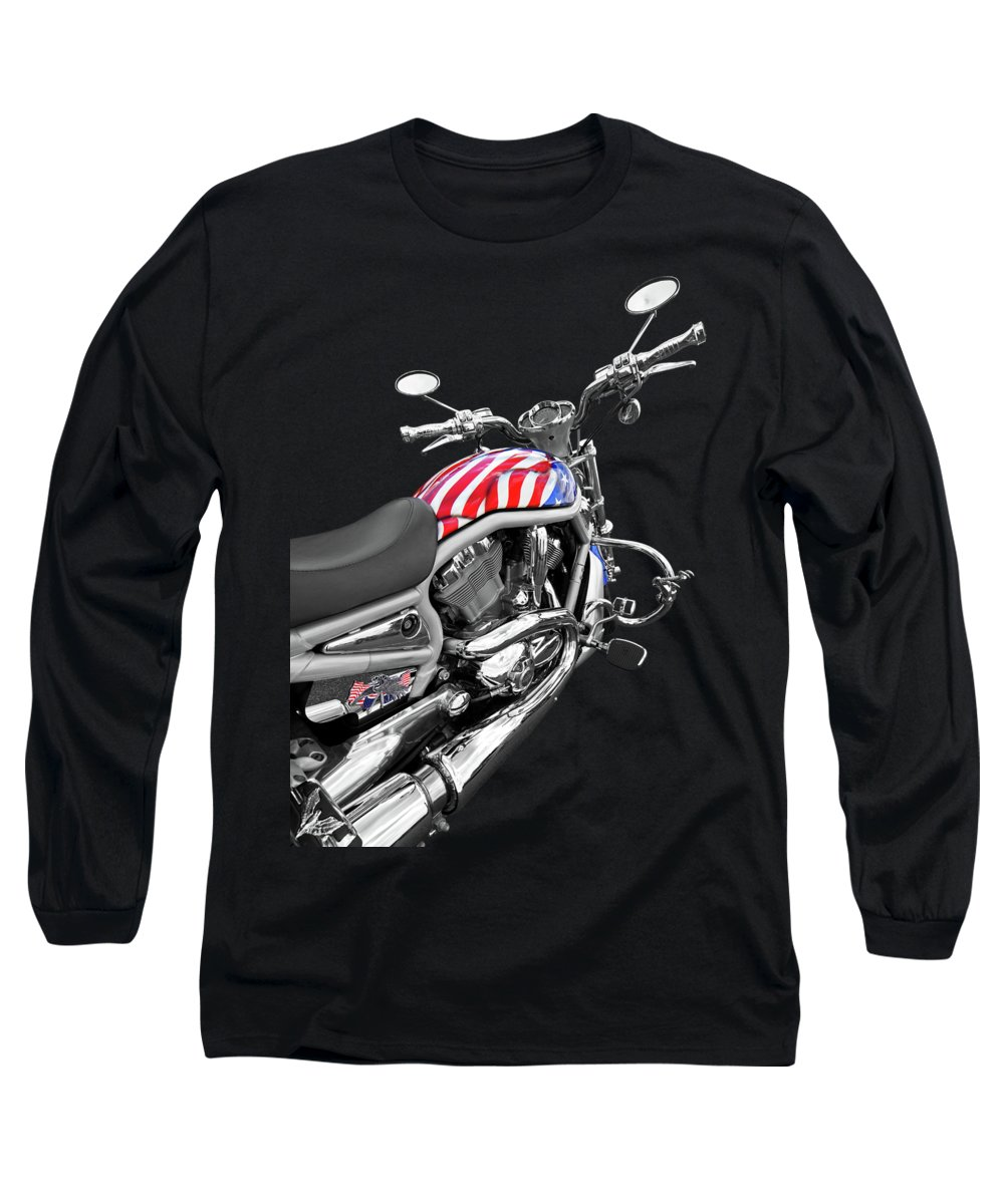 Harley Davidson Motorcycle Long Sleeve T-Shirt featuring the photograph Harley Davidson Screamin Eagle Stars And Stripes On Black by Gill Billington