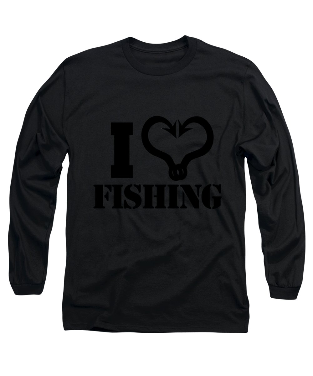 Fisherman-gifts Long Sleeve T-Shirt featuring the digital art I Love Fishing Fish Hooks by Passion Loft