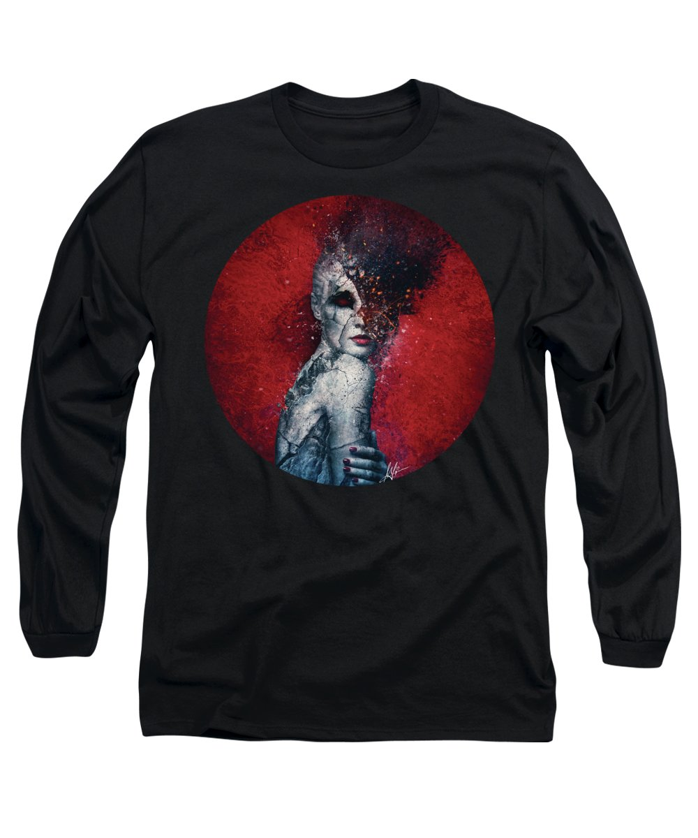 Red Long Sleeve T-Shirt featuring the digital art Indifference by Mario Sanchez Nevado