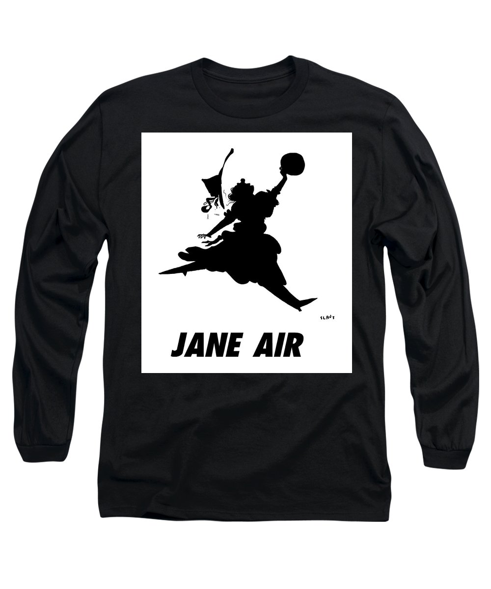 Jane Air Long Sleeve T-Shirt featuring the drawing Jane Air by Sara Lautman