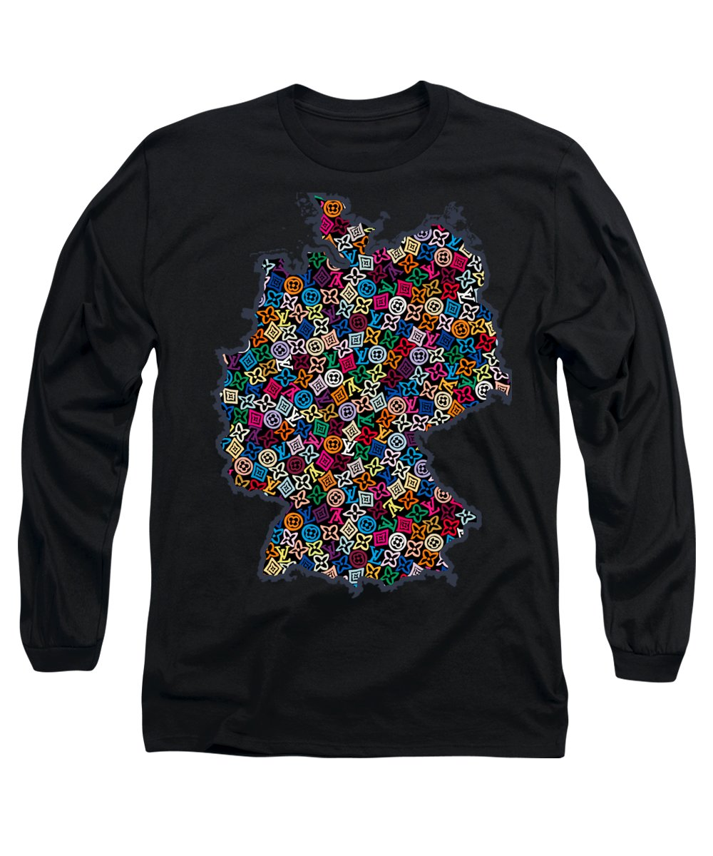 Map Germany Long Sleeve T-Shirt featuring the painting Map Of Germany-2 by Nikita