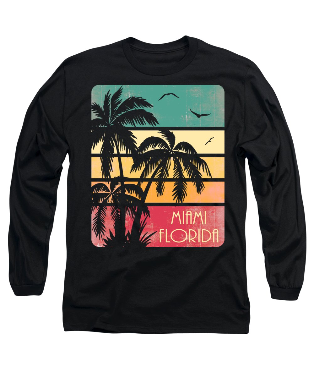 Miami Long Sleeve T-Shirt featuring the digital art Miami Florida Vintage Summer by Filip Schpindel