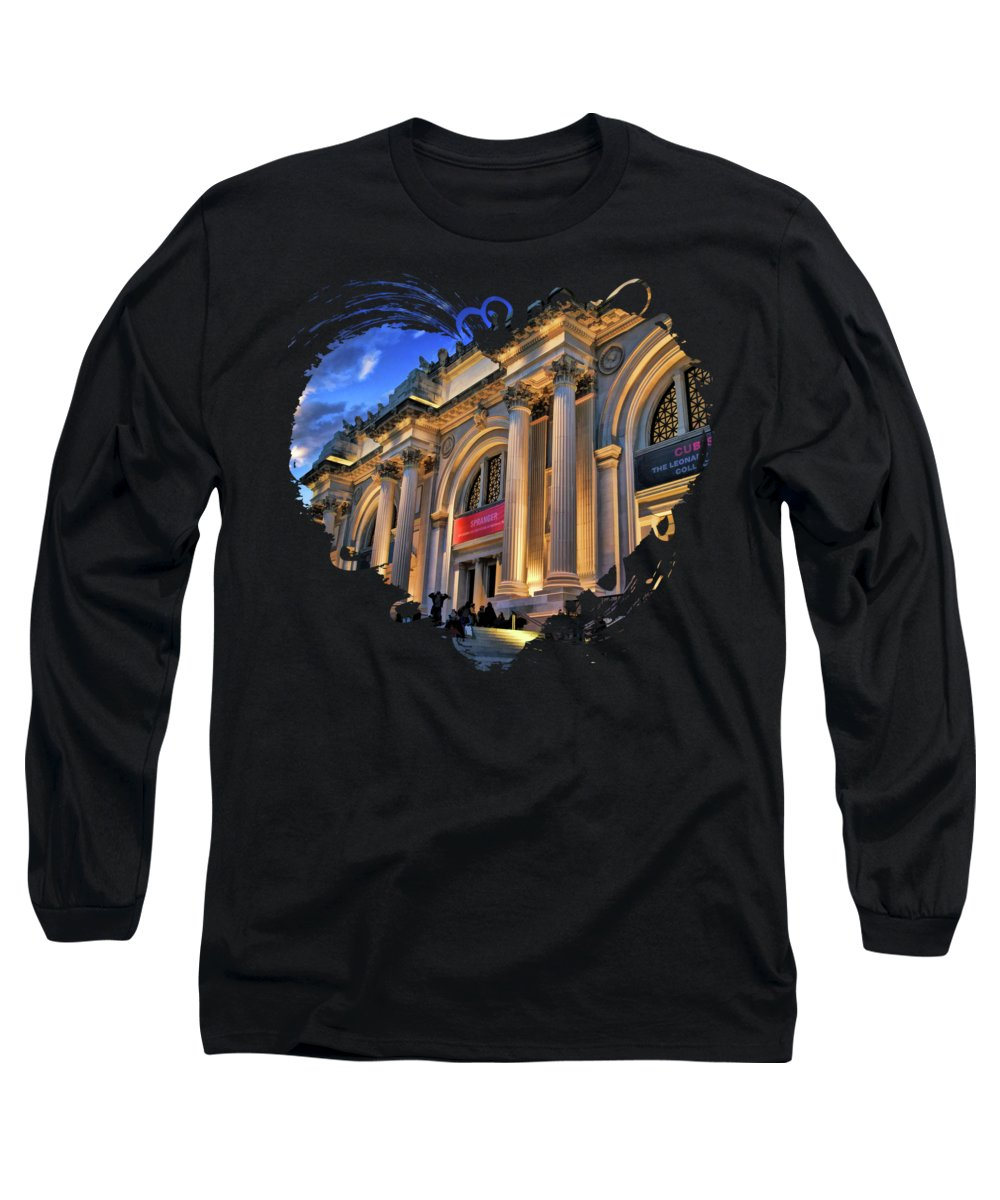 New York Long Sleeve T-Shirt featuring the painting New York City Metropolitan Museum Of Art by Christopher Arndt