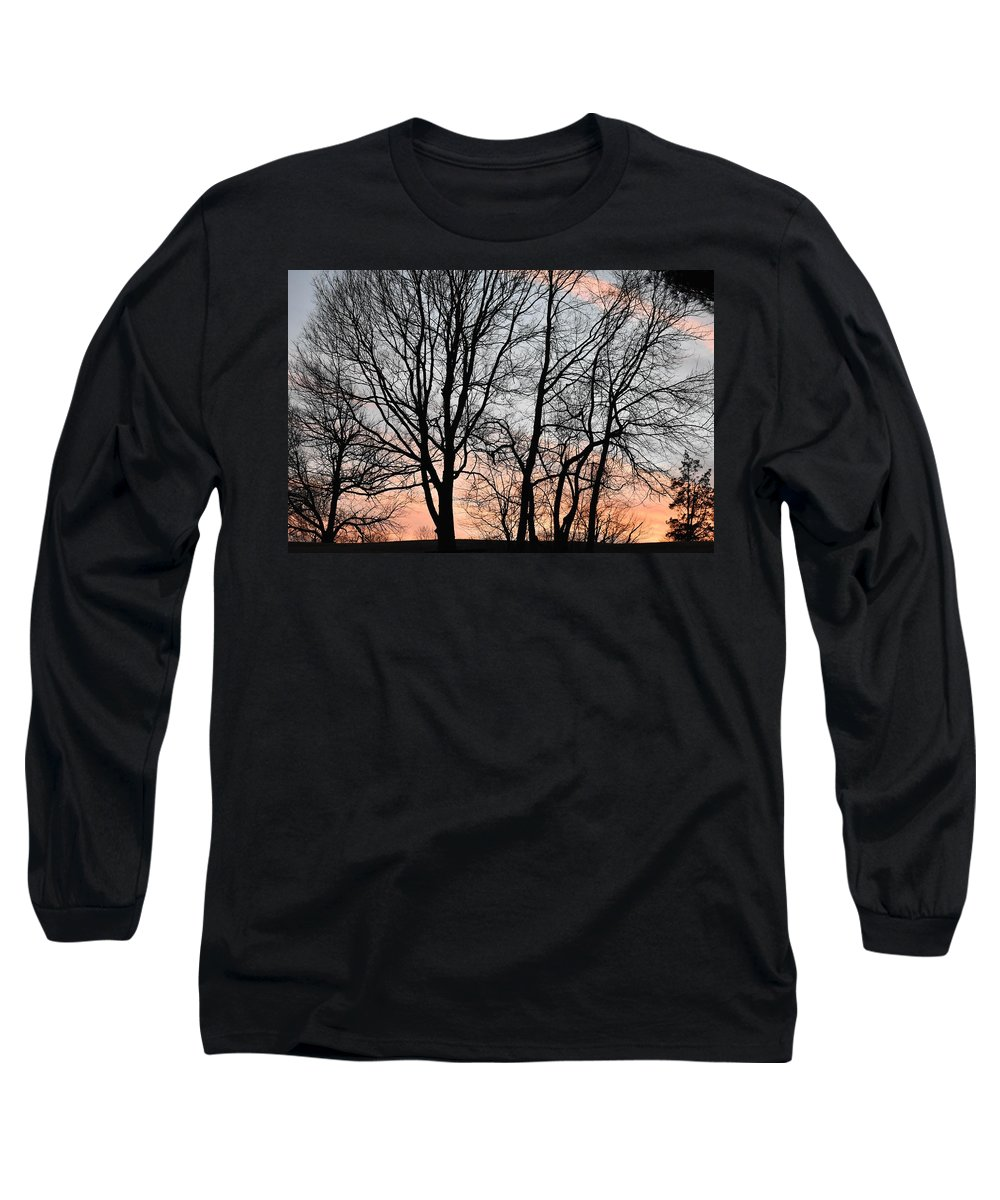 Trees Long Sleeve T-Shirt featuring the photograph Pink Sky by Cassidy Marshall