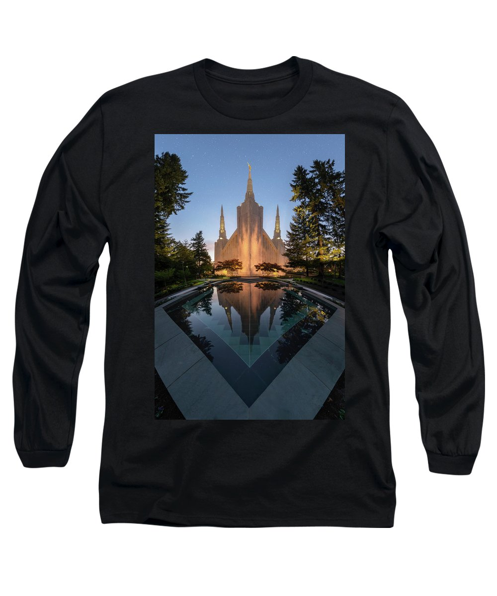 Latter Day Saints Long Sleeve T-Shirt featuring the photograph Portland Temple Night by Dustin LeFevre