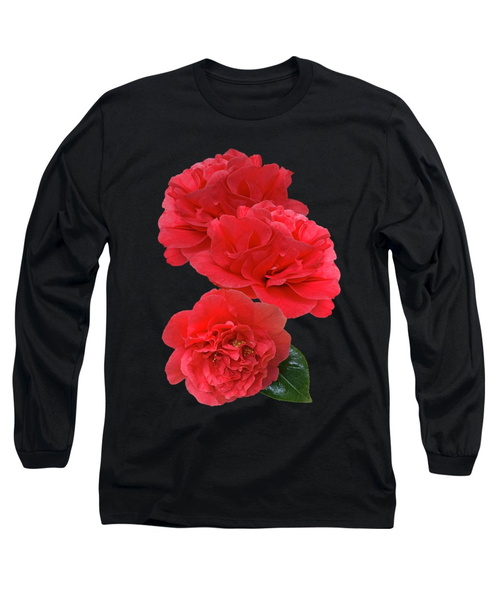 Red Flowers Long Sleeve T-Shirt featuring the photograph Red Camellias On Black Vertical by Gill Billington