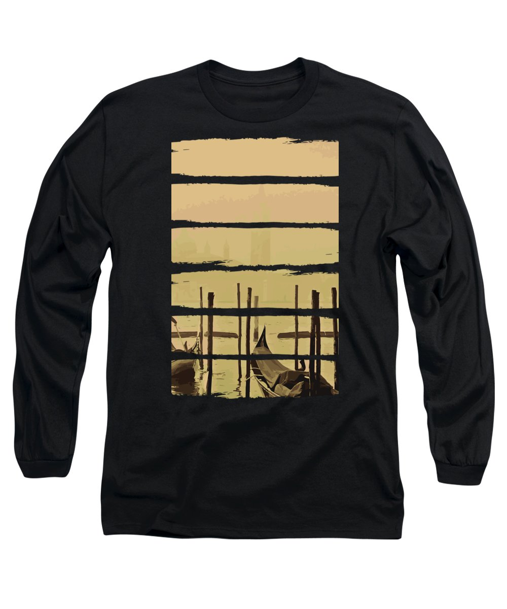 Fishing Long Sleeve T-Shirt featuring the digital art River Boat Scenery by Passion Loft