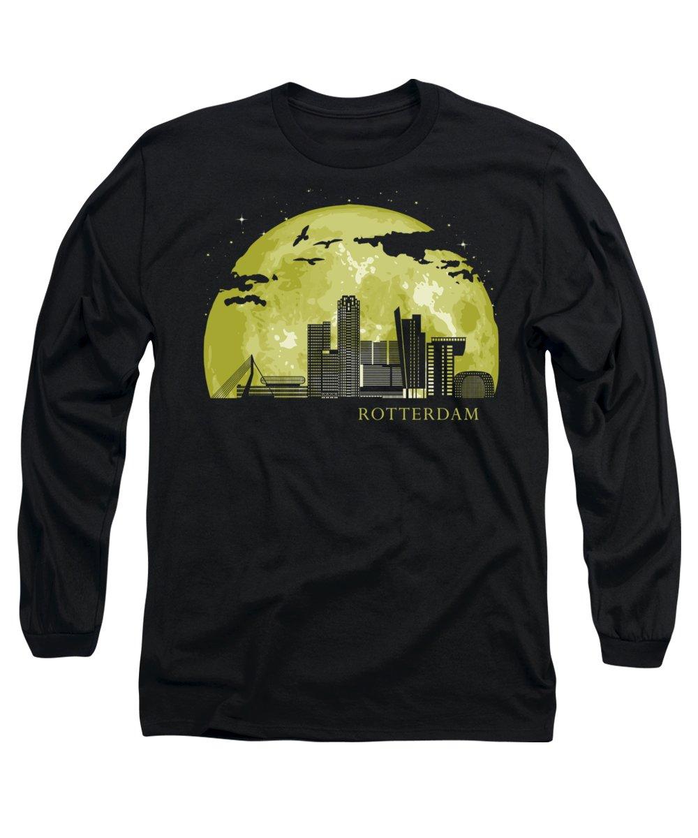 Holland Long Sleeve T-Shirt featuring the digital art Rotterdam Moon Light Night Stars Skyline by Filip Hellman