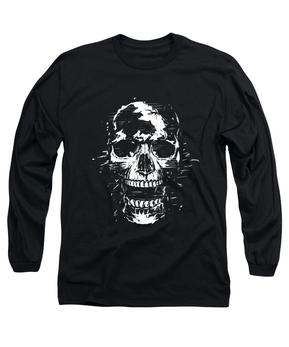 Skull Long Sleeve T-Shirt featuring the mixed media Scream II by Balazs Solti