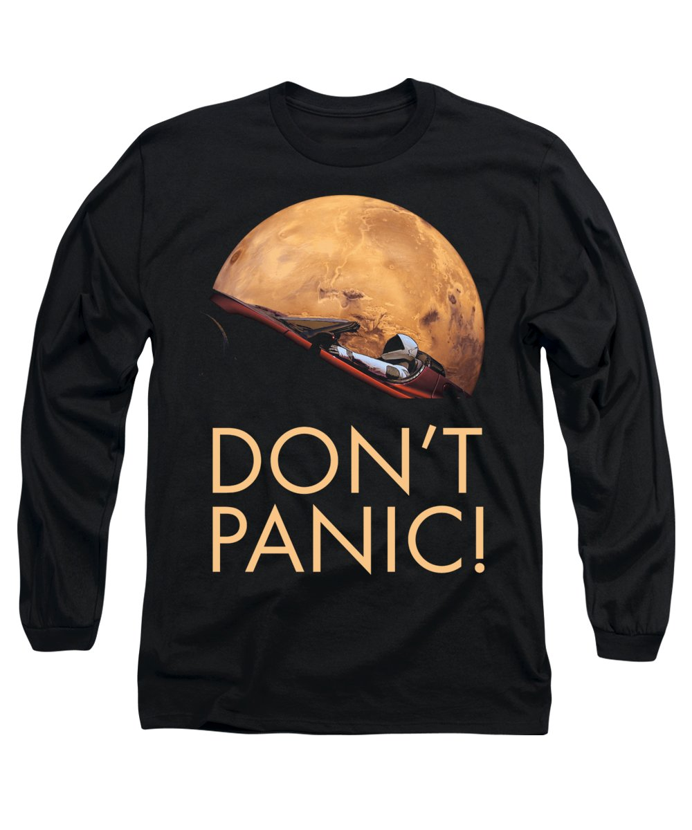 Dont Panic Long Sleeve T-Shirt featuring the photograph Starman Don't Panic In Orbit Around Mars by Filip Hellman