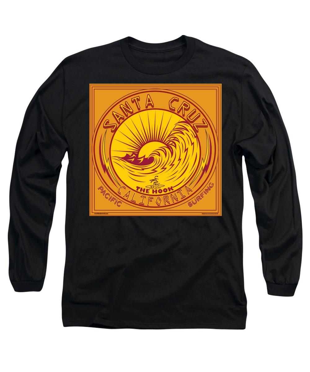 Vector Long Sleeve T-Shirt featuring the digital art Surfing Santa Cruz California Steamer Lane by Larry Butterworth